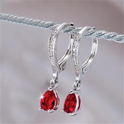 Diamond<em>Aura</em>&reg; Navidad Ruby Red Earrings