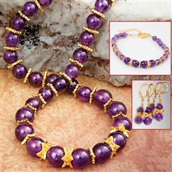 Tyrian Amethyst Necklace, Bracelet, and Earrings Set