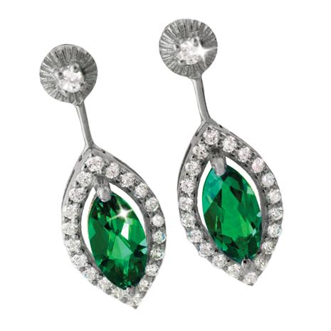 Marquise Scienza Lab-Created Emerald & Diamondaura Earrings