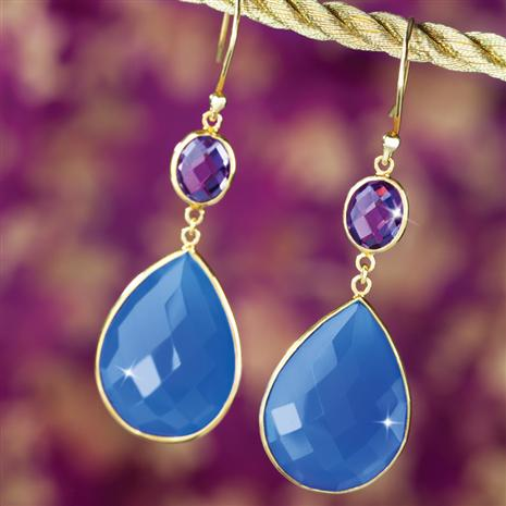 BLUE ONYX & AMETHYST EARRINGS