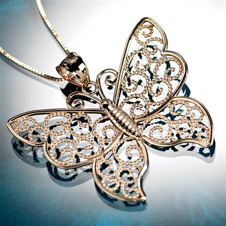 14K Gold Lace Butterfly Pendant