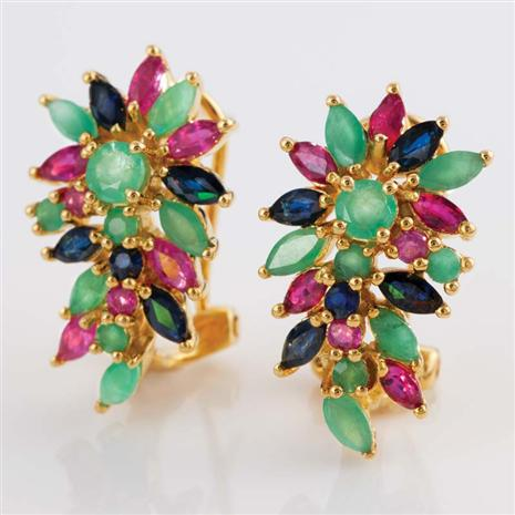 Harmonia Ruby, Emerald & Sapphire Earrings