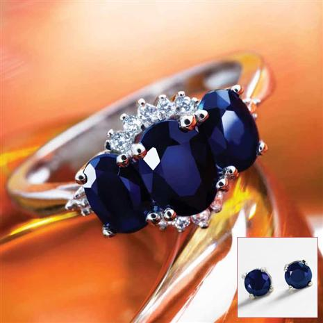 Trivium Sapphire Ring & Earrings Set