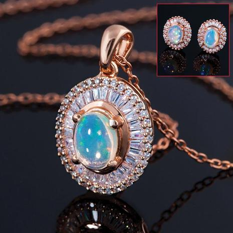 Bareeda Opal Necklace & Earrings Set