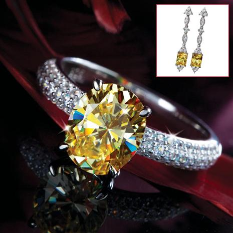 Cierto Canary DiamondAura® Ring & Earring Set