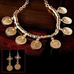 Ottoman Coin Necklace & Earrings Set