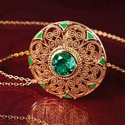 Louis Comfort Tiffany Scienza® Emerald Mandala Pendant / Brooch