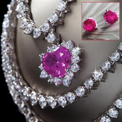 Scienza® Pink Sapphire Heart Necklace & FREE Pink Studs