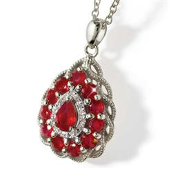 Fire & Ice Ruby and Diamond Sterling Silver Necklace