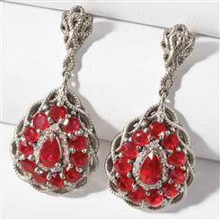 Fire & Ice Ruby and Diamond Sterling Silver Earrings