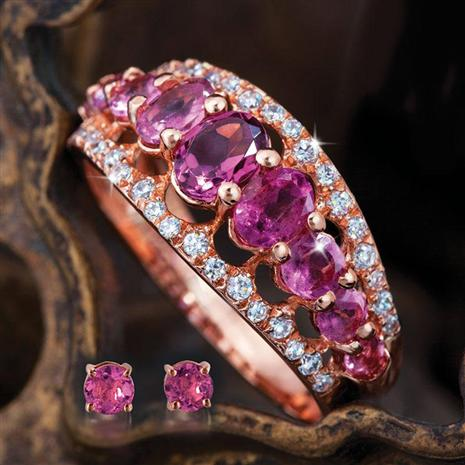 Empress Pink Ring & Earrings Set