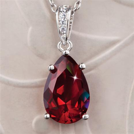DiamondAura Ruby Red Teardrop Pendant