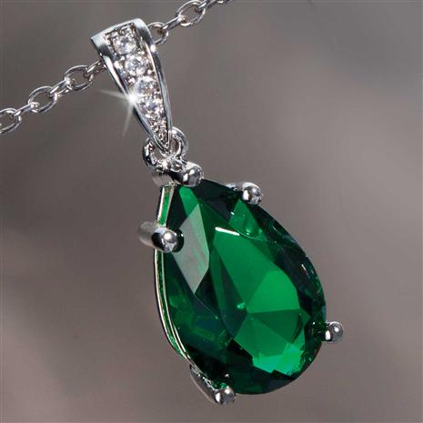 Emerald Green Teardrop Pendant