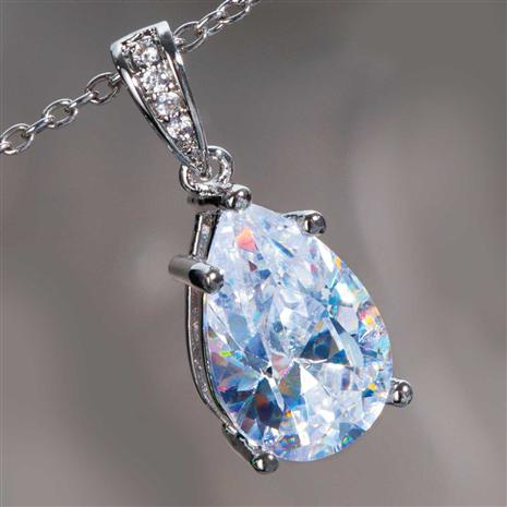 DiamondAura White Teardrop Pendant