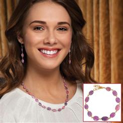 Spring Pink Sapphire Necklace, Bracelet & Earrings Set