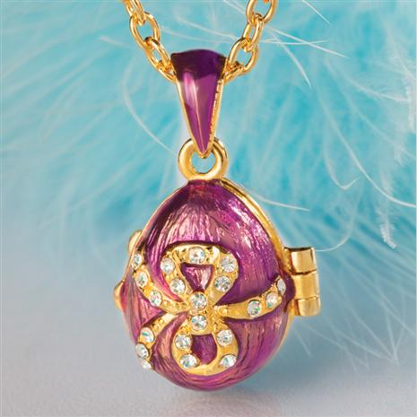 PURPLE RIBBON ENAMEL EGG NECKLACE