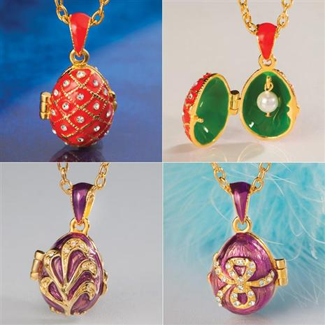 Miniature Imperial Style Egg Necklace Set of 3