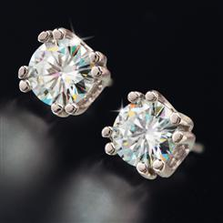Platinum-finished Berzelian Solitaire Earrings