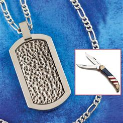 PATRIOT POCKET KNIFE & TITANIUM NECKLACE