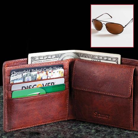 Stauer Umbria Leather Wallet PLUS Flyboy Optics Sunglasses