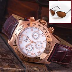 Stauer Rose Gold-Finished Monaco Watch & Flyboy Optics Sunglasses