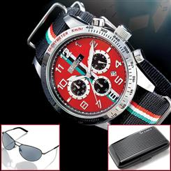 Stauer Monaco F2 Watch & Apollo Aluminum Wallet and Stauer Flyboy Sunglasses
