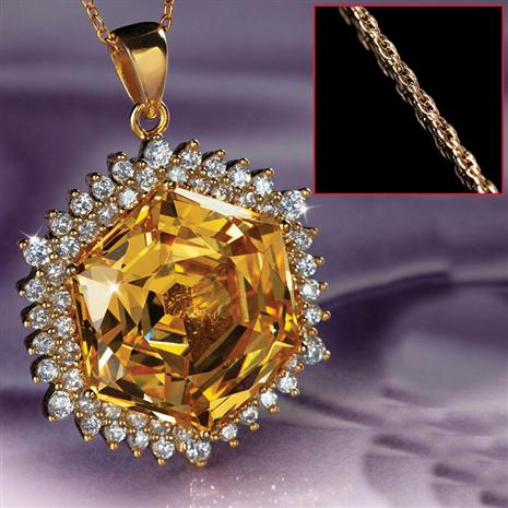 Castile Yellow DiamondAura Pendant & Chain Set