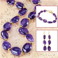 Lusso Amethyst Necklace, Bracelet & Earrings Set