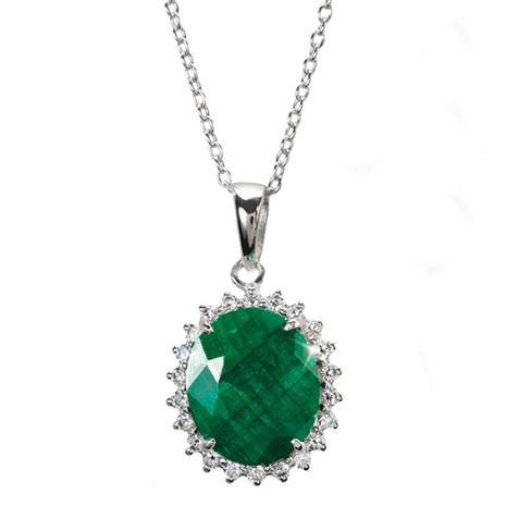 Verdone Emerald & DiamondAura Pendant & Necklace (5 ctw)