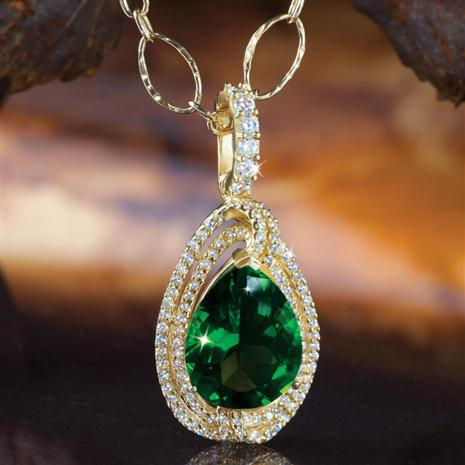 Helenite & DiamondAura Pendant with Gold-finished Chain