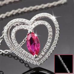 Amoretta Scienza® Ruby Heart Pendant & Chain Set