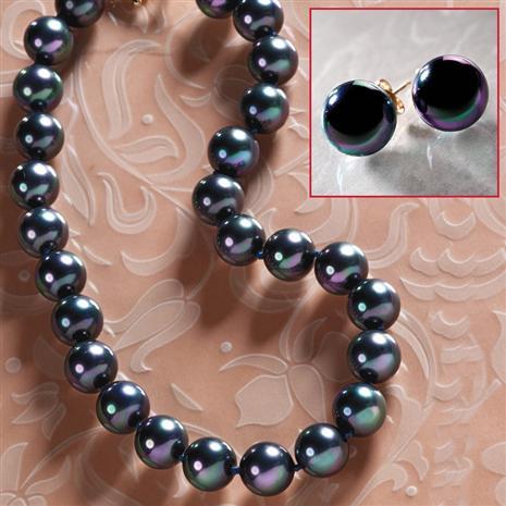 Tahiti Black Peacock Necklace & Earrings Set