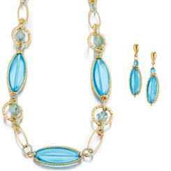 Azzurro Murano Glass Necklace & Earrings Set
