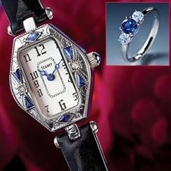Ciro Art Deco Womens Watch & Cielo Scienza Sapphire Sterling Silver Ring