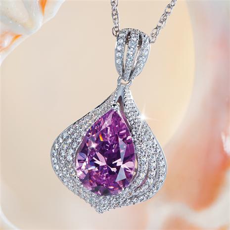 DiamondAura Pink Cosmo Pendant & Chain