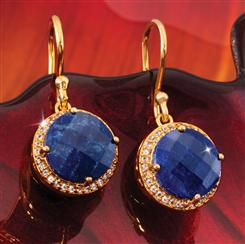 Celestial Gold-finished Sapphire Earrings