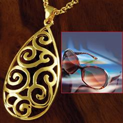 Gold-Finished Callos Necklace & Capri Sunglasses