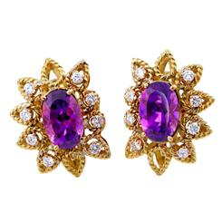 Premio Purple 18K Gold Oval Amethyst & Diamond Earrings