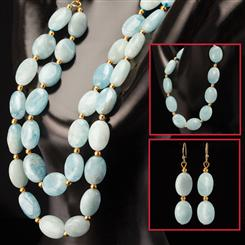 Cabo Aquamarine Necklace, Bracelet & Earrings Set