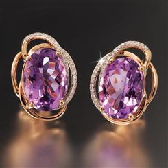 14K Rose Gold Madagascar Amethyst Earrings