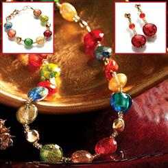 Murano Glass Artisan Necklace & Earrings Set