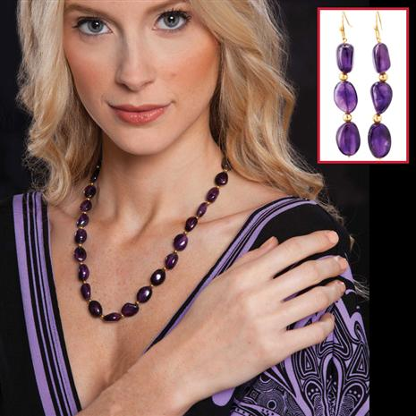 Lusso Amethyst Necklace & Earrings Set