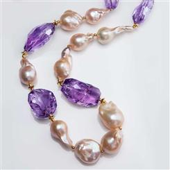 Neptune Beach Baroque Pearl & Amethyst Necklace