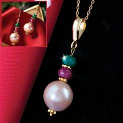 Genuine Pearl, Ruby & Emerald Set (Necklace & Earrings)