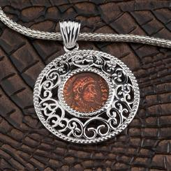 Imperial Roman Coin Pendant & Chain Set