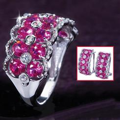 Elisa Scienza® Ruby Ring & Earrings Set