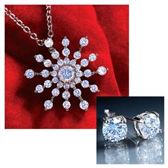 DiamondAura Snowflake Pendant and Stud Earring Set