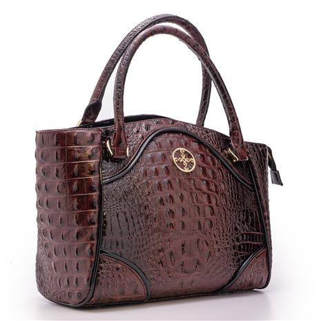Avalon Crocodile-Embossed Handbag