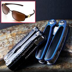 Stauer Taskman Multi-Tool (grey & blue) & Flyboy Corsairs Sunglasses