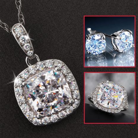Infinity DiamondAura Ring, Necklace & Earrings Set